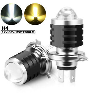 2x H4 9003 LED Motorcycle Headlight Bulb High Low Beam Dual Color White Yellow