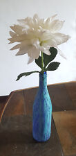 "Hand Painted Blue Bottle Vase 12"" OOAK"