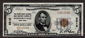 1929 $5 Type 1, Fulton County NB & Trust of Gloversville, NY, Ch3122, VF++, NICE