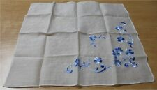 Vintage White Cotton Hankie w Blue Embroider Flowers 17
