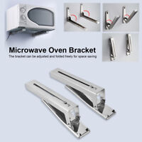 2x Stainless Steel Microwave Oven Wall Mount Bracket Foldable Stretch Shelf Rack