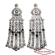 Estate Onyx Marcasite Sterling Silver Dangle Drop Earrings NR