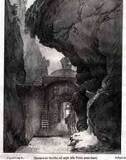 GAETA: Santuario della Montagna Spaccata. Terra di Lavoro. Regno di Napoli. 1844