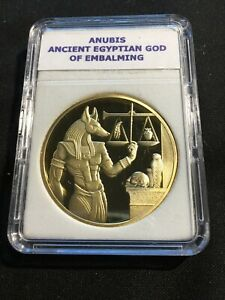 Ebros Ancient Egyptian God Anubis with Scales Gold Plated Challenge Coin SP4