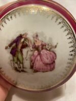 Vintage Porcelaine Artistique Limoges France Courting Couple Trinket Box on Legs
