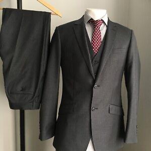 MENS REMUS UOMO SUIT 3 Piece Trousers Jacket Waistcoat Pinstripe Grey 38 L Wool