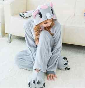 Unisex soft Sloth Kigurumi Onesie0 Pajama Animal Halloween Costume Elephant XL