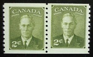 Canada Scott #309 Coil Pair, MNH 2cent King George VI,1951, Misaligned