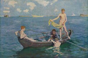 90+ yr Old Vintage HENRY SCOTT TUKE Gay Artist AUGUST BLUE Nude Men - 12x8 Print