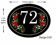 8 x 5 3/4 inch ALUMINIUM OVAL  Floral Design House,door,caravan Plaque/sign NEW