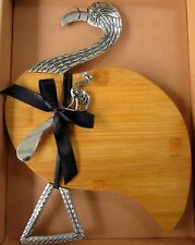 TIMBER & SILVER FLAMINGO SHAPED CHEESE BOARD WITH MATCHING SPREADER KNIFE BNIB