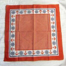 Foulard à cheveux carré coton 54cm retro pinup ancres marines rouge et blanc