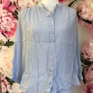 H&M linen button up blouse size 10