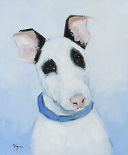 Original Oil painting - portrait of a bull terrier dog  - by j payne
