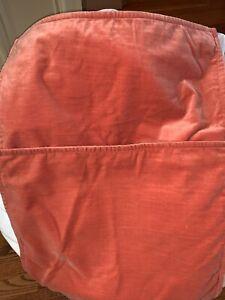 "RARE Set/2 Pottery Barn Washed Velvet Pillow Covers Ember 20"" FALL AUTUMN ORANGE"