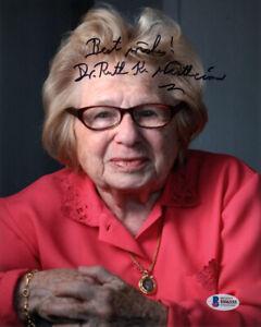 DR. RUTH WESTHEIMER SIGNED 8x10 PHOTO LEGENDARY SEX THERAPIST RARE BECKETT BAS
