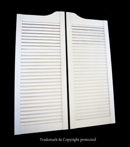 """CAFE DOOR WHITE LOUVERED 24"""" 28"""" 30"""" 32"""" or 36""""W **SCRATCH & DENTS** Saloon Bar"""
