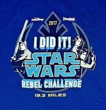 2017 Star Wars Half Marathon Rebel Challenge Blue Disneyland T-Shirt Large New