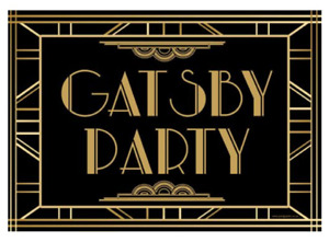 GATSBY PARTY 1920S POSTER - Black and Gold Art Deco Style Party Decoration - A3
