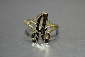 """10K Solid Yellow Gold Diamond Cut 0.6"""" Initial Cursive Letter Ring. Size 6.75"""