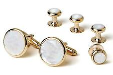 New Men's Classic Gold Round Mother of Pearl Cuff Links & Studs Gift Box Set Tux
