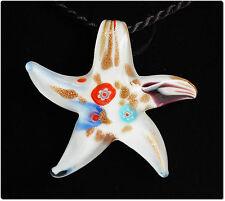 Bijou pendentif étoile mer verre style murano millefiori cadeau bijou été mode