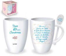 TAZZA 60 ANNI cucchiaino ceramica Gadget stampato idea regalo  60° Compleanno