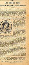 69 LYON MLLE VERROT JEUNE MODISTE PILULES PINK PUBLICITE 1912