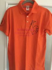 le coq sportif Men's Short Sleeve Polo-Tee Orange Size L
