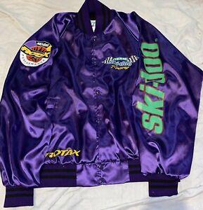 Retro TEAM SKI-DOO RACING BUTTON-FRONT NYLON JACKET Men's L Large Purple Rotax