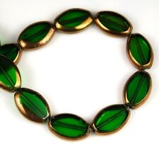 20pcs Green Gold Oval Electroplated Faceted Glass Loose Craft Beads 10x15mm