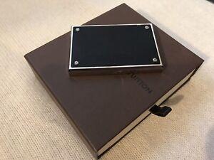 LOUIS VUITTON  Card Holder Boite Métal Argenté Cuir Leather box Rare