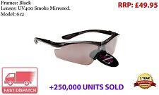 RayZor Black Sports Wrap Sunglasses Uv400 Smoked Mirrored Lens (612)