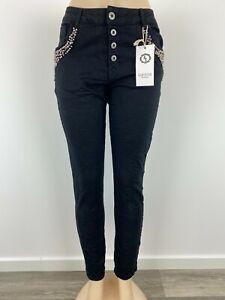 Damen Jeans Karostar Schwarz Perlen Strass Nieten (ähnl. Jewelly & Lexxury) NEU