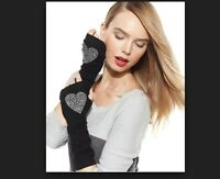 WEBERLINE WOMENS COUTURE 100% CASHMERE LONG GLOVES BLACK CRYSTAL HEARTS *NEW*