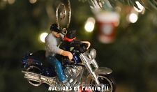Harley Davidson Motorcycle Soft Tail Custom 1/64 Christmas Ornament Biker & Dog