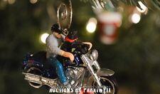 Harley Davidson Motorcycle Soft Tail Custom 1/64 Christmas Ornament Biker & Dog