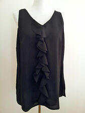 Maggie T size 12 black polyester sleeveless v-neck tunic with centre front frill