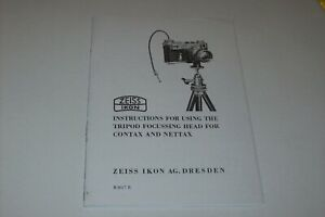 INSTRUCTIONS MANUAL-COPY- FOR USING TRIPOD HEAD FOR CONTAX & NETTAX CAMERAS