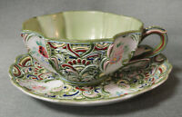 Vintage ARDALT LENWILE CHINA Japan TEA CUP & SAUCER 6327 Green HP Heavy Moriage