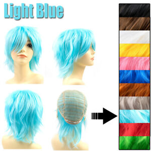Cosplay Wig 8/24inch Anime Costume Full Head Halloween Wig Various Colors Soft