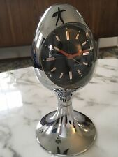 BRADLEY EGG CLOCK CHROME MID CENTURY W. GERMANY Panton Joe Colombo Vitra Alessi