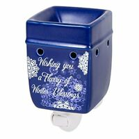 Winter Blessings Snowflakes Blue Christmas Electric Plug-in Wax Oil Warmer