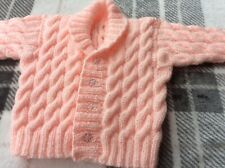 brand new hand knitted baby cardigan 3-6 months Aran Style Pink Baby Girl