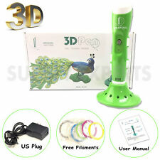 New Green 3D Printing Drawing Pen Crafting Modeling PLA Filament Arts Printer