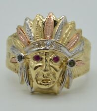 Real 10K Yellow Solid Gold Men's  Indian Head Red CZ gem stones Ring