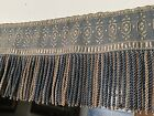 Antique Blue Gold Fringed 2 Theater Valance Embroidered Fabric French Victorian