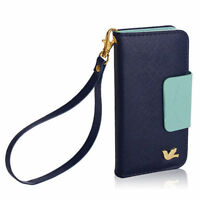 F637 Magnetic Flip Blue PU Wallet Cards Holder Case Cover For Samsung Galaxy S4/