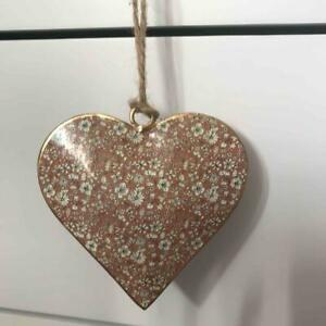 Small Ditsy Floral Metal Hanging Heart