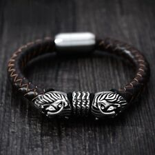 High Quality Punk Style 316L Stainless Steel Lion Leather Men Braided Bangle UK